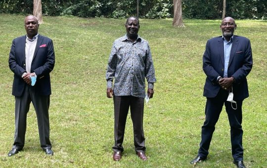 Inside Raila's closed door meeting with Gideon Moi and Muhoho Kenyatta that has sparked mixed reactions