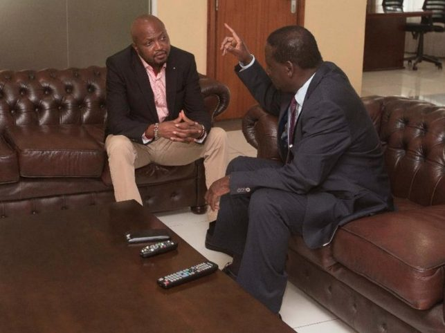File image of Raila meeting Moses Kuria at his office on March 26, 2018.