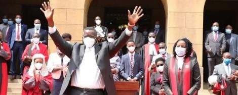 Judges, magistrates, Judiciary staff and other stakeholders bid farewell to retired Chief Justice David Maraga (front) outside the Supreme Court buildings on Monday, January 11, 2021